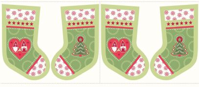 Lewis & Irene - Hygge Christmas - 5990 - Stocking Panel in Green - C31.2 - Cotton Fabric